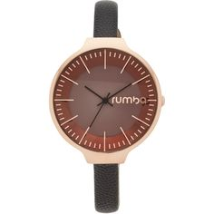 RumbaTime Orchard Leather Lights Out Watch (876.410 IDR) ❤ liked on Polyvore featuring jewelry, watches, slim watches, leather watches, leather wrist watch, dial watches and slim wrist watch