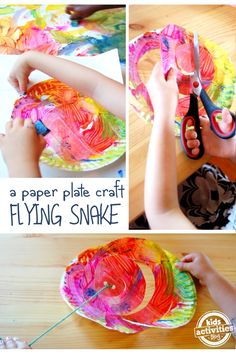 Flying Snake Art - I love this paper plate craft for kids. So simple to make, but something they can play with, too!