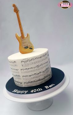 music cake, guitar cake, sheet music, man's cake, boy's cake, 40th birthday, round, deep tier, deep cake, white and black, printed images, tlcb, electric guitar, that little cake boutique