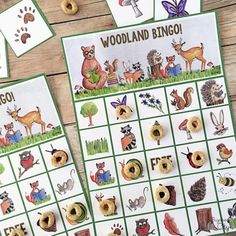 Download and print 24 different woodland animal BINGO cards. Perfect for woodland animal-themed parties or rainy days inside!
