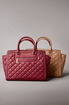 Autumn colors | Michael Kors quilted leather satchel.