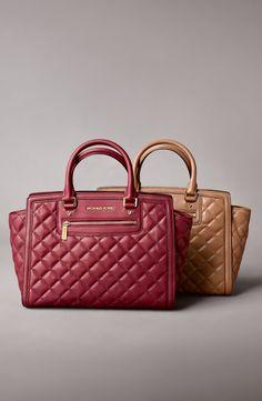 Autumn colors | Michael Kors quilted leather satchel.
