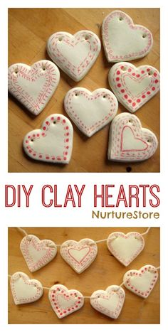 clay heart bunting How to make DIY clay hearts decorations - so pretty!NxHow to make DIY clay hearts decorations - so pretty! Valentine Day Crafts, Holiday Crafts, Kids Valentines, Heart Crafts, Heart Diy, Clay Ornaments, How To Make Ornaments, Heart Decorations, Homemade Decorations
