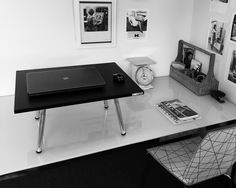 Executive Stand Steady with Ikea Table and Chair in black and white office