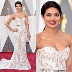 Oscar 2016 - Priyanka Chopra - vestido bordado com forro nude Zuhair Murad #redcarpet #oscar2016 #lpriyankachopra