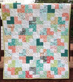 Les Amis on rail by HoosierToni, via Flickr, love the scrappiness, so many fabric possibilities