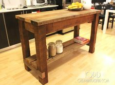 Masculine Rustic Style Untreated Teak Wood Kitchen Island Table With Two Hardwood Beam Shelving Plus Mortise And Tenon Joint Ideas On Laminate Floor As Well As Dining Tables And Dining Table of Affordable Home Kitchen Island Table Designs from Dining Room Ideas