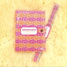 Jonathan Adler Stationary Set Beautiful orange and purple swirls in Jonathan Adler's signature bright colors! Comes with a refillable notebook and a ruler. Free with any purchase $30 or above! Jonathan Adler Accessories