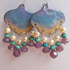 Purple chandelier earrings, leaf bohemian enamel jewelry, statement jewelry