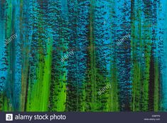 blue, green and black watercolor paper texture with vertical brush strokes Stock Photo
