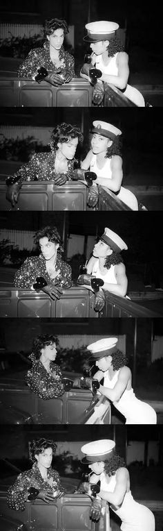 Prince & Cat playing around backstage during the Lovesexy Tour 1988.: