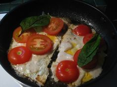 Breakfast omelette with tomatoes & bloody dock