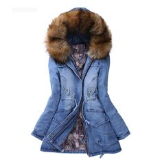 399d377af9604 Cheap jean parka, Buy Quality fashion parka directly from China parka  fashion Suppliers  New Winter Coat Women Big Faux Fur Hooded Thick Warm  Outwear ...