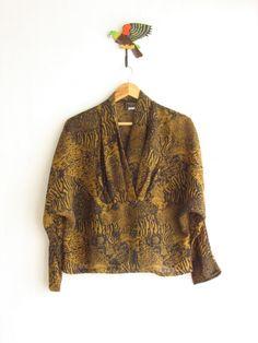 90s Sheer leopard print shirt. Animal print by SwanDiveVintage, $38.00