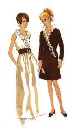 """Vintage Vogue Sewing Pattern 1960's Two-Piece Evening Dress Wrap Top B 32.5"""""""