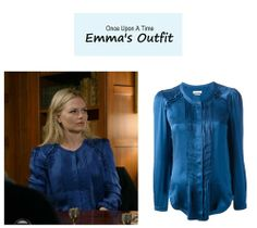 "Emma Swan's blue pleated satin blouse | Once Upon A Time - ""Bleeding Through"""
