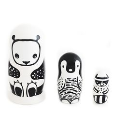 Russian Nesting Animals – babasouk.ca : Meet our new inseparable friends, the panda, the penguin and the raccoon. They can't live without one another! They nest one inside each other like...