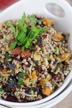 Dried Fruit and Goat Cheese Buckwheat Salad. I just bought some Fig Goat Cheese, would be tasty in this!