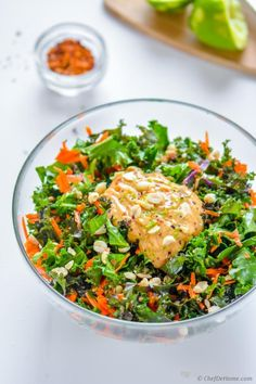 Crunchy kale, carrots and peanuts salad coated in tangy, sweet and spicy chili-lime Peanut Dressing! A vegan and healthy way to enjoy your daily servings of green with scrumptious touch of favorit...