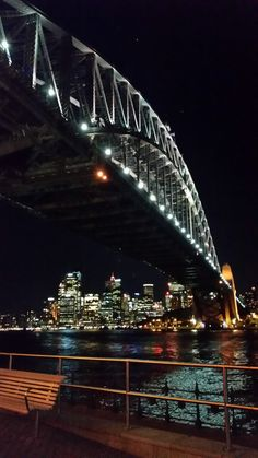 My view of the Sydney Harbour Bridge and the City at night, so pretty!