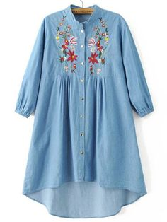 To find out about the Blue Flower Embroidery High Low Denim Dress With Buttons at SHEIN, part of our latest Dresses ready to shop online today! Chambray Tunic, Denim Shirt Dress, Long Sleeve Shirt Dress, Dress Long, Kurta Designs, Blouse Designs, Blue High Low Dress, Dress Vestidos, Half Sleeve Dresses