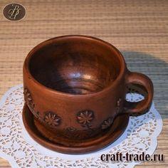 Чашка с блюдцем из природной глины Цветы - гончарная посуда ручной работы купить в интернет магазине Рукоделец