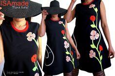 be04185254e3 Robe Noire Fleurie rouge écru vert anis Créateur Printemps en taille 42 44    la robe Fantaisie et Originale »Floral Boho » - Robes Femme Originales  créateur ...