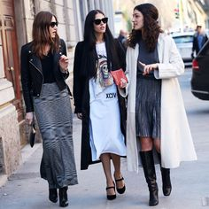 MILAN FASHION WEEK STREET STYLE CAT EYE SUNGLASSES LEATHER MOTO JACKET MISSONI PRINT MAXI SKIRT CLUTCH BAG CURLY HAIR HALF UP LONG WHITE COA...