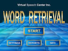 Speech Time Fun: Introducing, Word Retrieval App!!-designed for those with aphasia, learning disorders, autism, cognitive deficits, and central auditory processing disorder. Pinned by SOS Inc. Resources. Follow all our boards at pinterest.com/sostherapy/ for therapy resources.