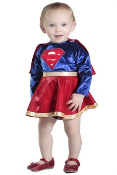 Infant/Toddler DC Comics Supergirl Dress & Diaper Cover Set - 4 sizes  Look! Up in the sky! What is that flying in the air? It's a bird. It's a plane. No, It's Supergirl!  This Infant/Toddler Supergirl Dress and Diaper Cover Set and have your little one ready to fight for truth and justice!  This item features a multi-colored dress with detachable red cape and diaper cover.