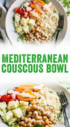 This Mediterranean bowl couscous recipe is a fast weeknight dinner! It features quick-cooking couscous with chickpeas and a creamy tahini sauce....