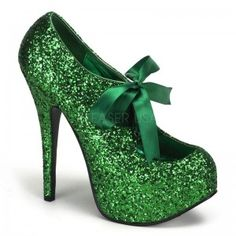 Teeze Green Glittered Platform Pump - New at ShoeOodles.com Price: $75.00  Glitter covered pump has a concealed platform that is about 3/4 inches high and a 5 3/4 inch heel. Satin bow tie front for a touch of whimsey. In so many pretty colors it will be hard to choose just one - here in beautiful green! The perfect party shoe!  All man made materials with padded insole and non-skid sole.  #gothic #fashion #steampunk