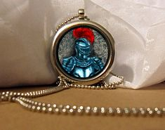 Knight Art Necklace, Knight Pendant, Knight Necklace, Knight, Red Feather, Fantasy Artwork, Art Pendant, Floating Charm, Fantasy Pendant by NanaFantasyJewelry on Etsy