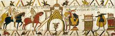 Bayeux Tapestry detail, ~1080, Wool embroidered on a linen background, Musée de la Tapisserie de la Reine Mathilde, Bayeux