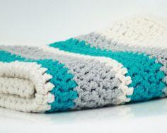 Modern Crochet Baby Blanket Organic Cotton Blue by FoxAndRebel, $129.00