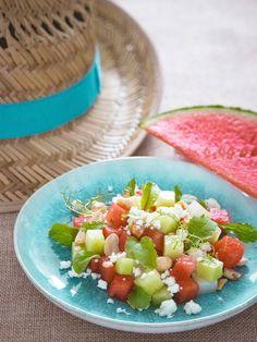 Summer Melon Salad with fresh Cuttlefish Melon Salad, Feta Salad, Lemon Salt, Cuttlefish, 200 Calories, Summer Salads, Bon Appetit, Watermelon