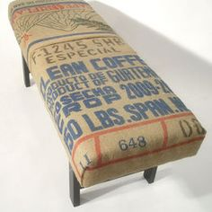 burlap coffee sack upholstered bench. DIY for kitchen chairs