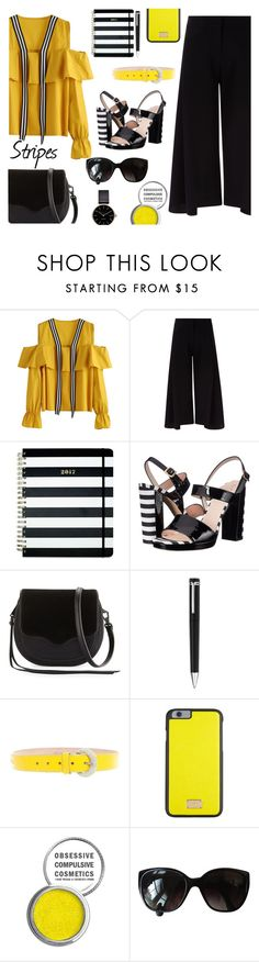 """Stripes"" by juliehalloran ❤ liked on Polyvore featuring Victoria, Victoria Beckham, Kate Spade, Rebecca Minkoff, Montblanc, D&G, Dolce&Gabbana, Obsessive Compulsive Cosmetics, Chanel and Myku"