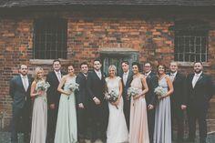 James+Melia+-+JLM+Couture+Alvina+Valenta+Lace+Wedding+Dress+for+a+DIY+Rustic+Wedding+at+Shustoke+Farm+Barns+in+Warwickshire+with+Mis-match+Multi-way+Pastel+Bridesmaid+Dresses+
