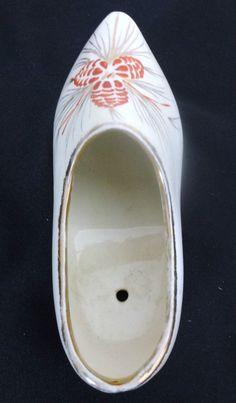 Vintage Ceramic Pine Cone Dutch Shoe with Gold Trim