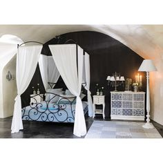 Four-Poster Metal Double Bed in Brown Sheherazad Metal Double Bed, Double Beds, Affordable Furniture, Oversized Mirror, Sweet Home, Bedroom, House Styles, Brown, Motifs