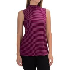 Cable & Gauge Striped Mock Neck Tank Top, Exotic Berry/Black, sz L. Sierra Trading Post, 9/29/16, $13.