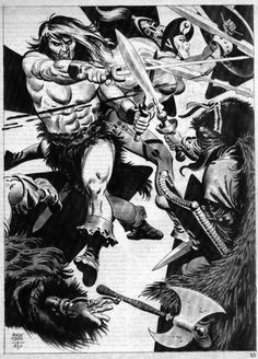 the Conan Portfolio, by Alex Toth. this was originally published as a PinUp gallery in the Savage Sword of Conan the Barbarian, Vol. Comic Book Artists, Comic Artist, Comic Books Art, Conan O Barbaro, Alex Toth, Conan The Barbarian, Sword And Sorcery, Marvel, Ink Illustrations