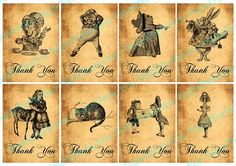 Alice in Wonderland Thank You Notes ATC ACEO by DigitalPerfection, $4.00