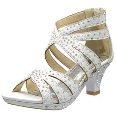 Kids Dress Sandals Rhinestone Glitter Cutout High Heel Pageant Shoes White little pageant girl princess wedding flower girl footwear