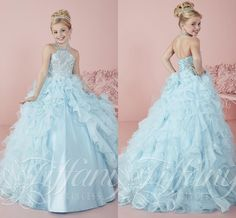2016 Ice Blue Girls' Pageant Dresses for Little Kids First Communion Debutante Misses Formal Prom Wear Sale Cheap Crystals Corset Ball Gowns