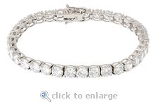 Ziamond Cubic Zirconia .50 Carat Round Tennis Bracelet In 14K White Gold.  The Everett Tennis Bracelet features .50 carat each round cubic zirconia that are basket set for a total of approximately 17 carats in total carat weight.  All Ziamond cubic zirconia is hand cut and hand polished and made from the original Russian formula.  $1395 #ziamond #cubiczirconia #cz #bracelet #tennisbracelet #14kgold #basketset