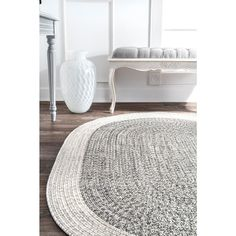 nuLOOM Indoor/Outdoor Braided Oralia Rug Grey Indoor/Outdoor 5 ft. x 8 ft. Oval Rug-HJFV06A-O508 - The Home Depot