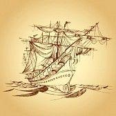 old ships : Illustration der Zeichnung des historischen Schiffes auf dem Papier Illustration