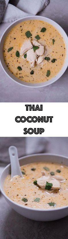 Easy Thai Coconut Soup Recipe - Low Carb Keto Tom Kha Gai